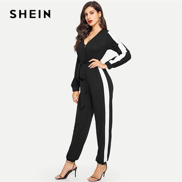 ef00b2267163 SHEIN Black Deep V Neck Self Belted Colorblock Jumpsuit Elegant Tapered  Carrot Button Maxi Jumpsuits Women