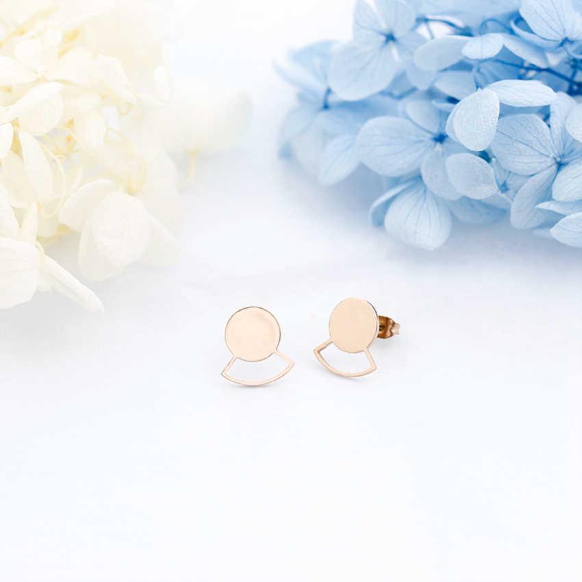 Aço inoxidável Minúsculo Geométrica Rodada Círculo Brincos Rose Gold Cor Prata Jóias Mulheres Brinco Presente de Aniversário Feminino