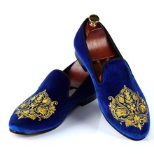 Blue Velvet Shoes For Men Handmade Embroidered Loafers Fashion Casual Shoes Red Bottom