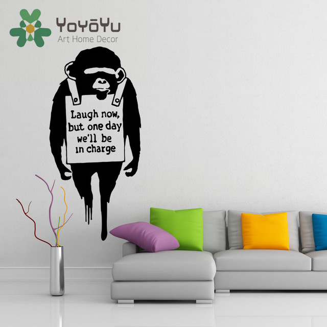 Banksy Vinyl Wall Decal Monkey Quote Laugh Now Street Graffiti Art ...