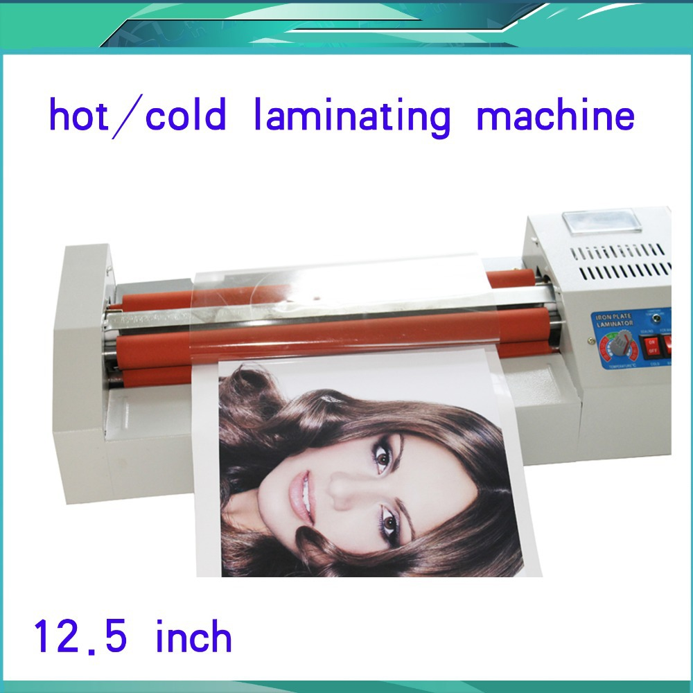 Metal Frame 110/220V A3 12.5 320mm Hot +Cold Thermal Laminating Machine Pouch Roll Laminator Office Equipment fast free shipping new hot pouch laminating machine hot cold roll laminator 2 rolls film