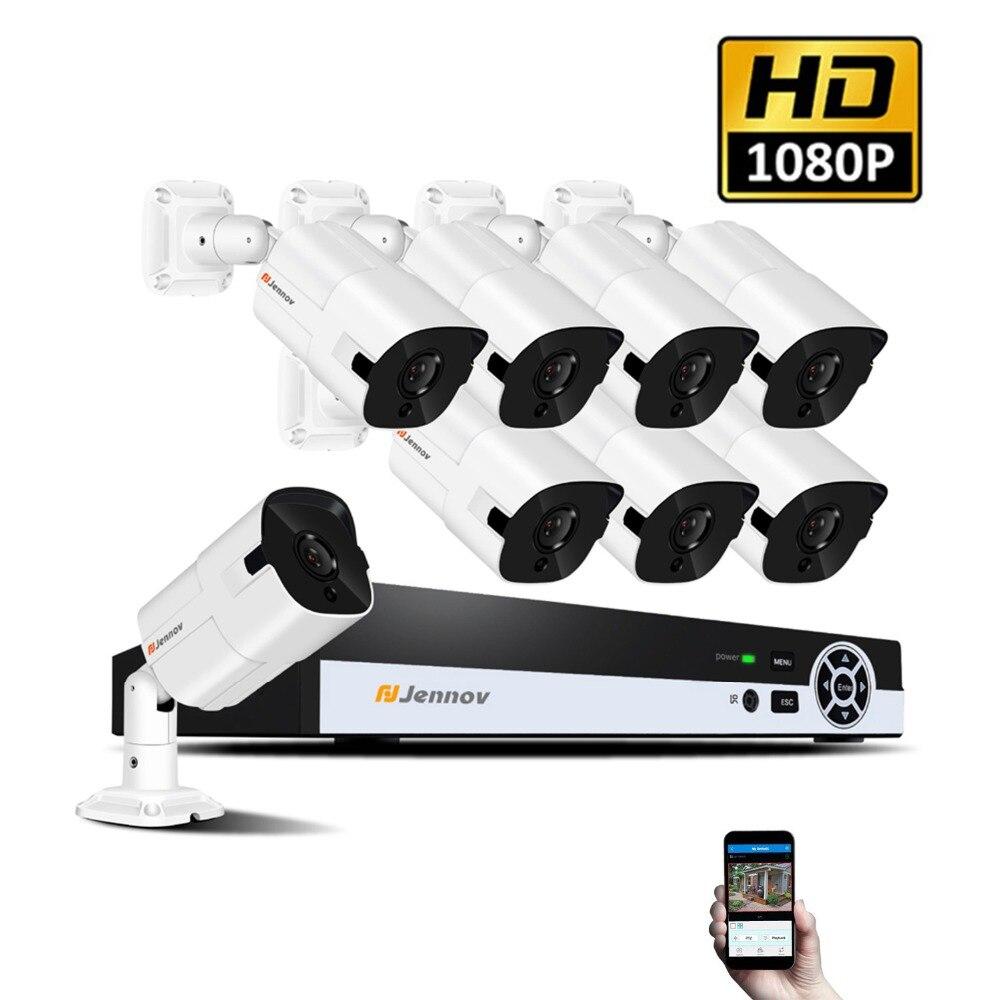HD 1080P CCTV Kit POE 2MP Video Surveillance 8CH Security System Camera Set NVR Kit IP Camera System H.264 Email-Alarm IR-Cut цены