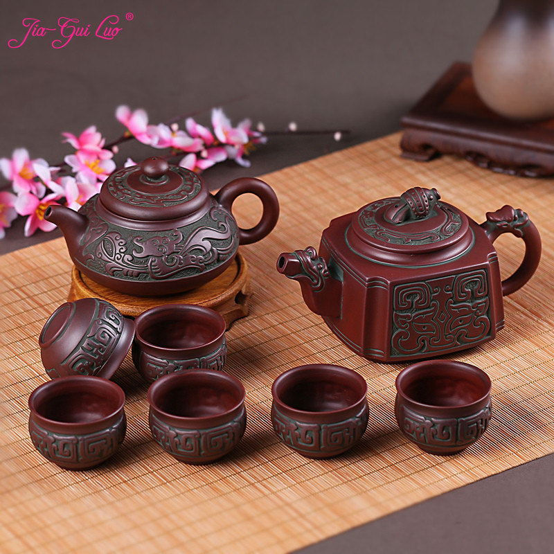 JIA-GUI LUO  Purple Clay  Tea Pot   Traditional Chinese Tea Set  Tie Guan Yin Tea  Teapot  Tea cup Retro Style  H010