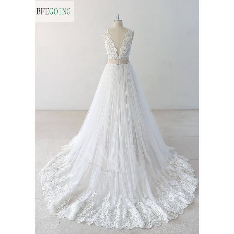 Image 4 - Ivory  Lace  Appliques Satin V Neck Floor Length  A line Wedding dresses Chapel Train  Bridal gown Custom made-in Wedding Dresses from Weddings & Events