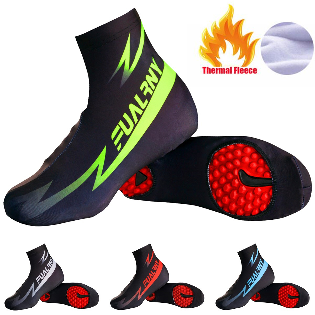 Fualrny Brand Cycling Shoe Cover Reflective MTB Bicycle Overshoes Winter Thermal Fleece Road Racing Bike Shoes Cover Copriscarpe