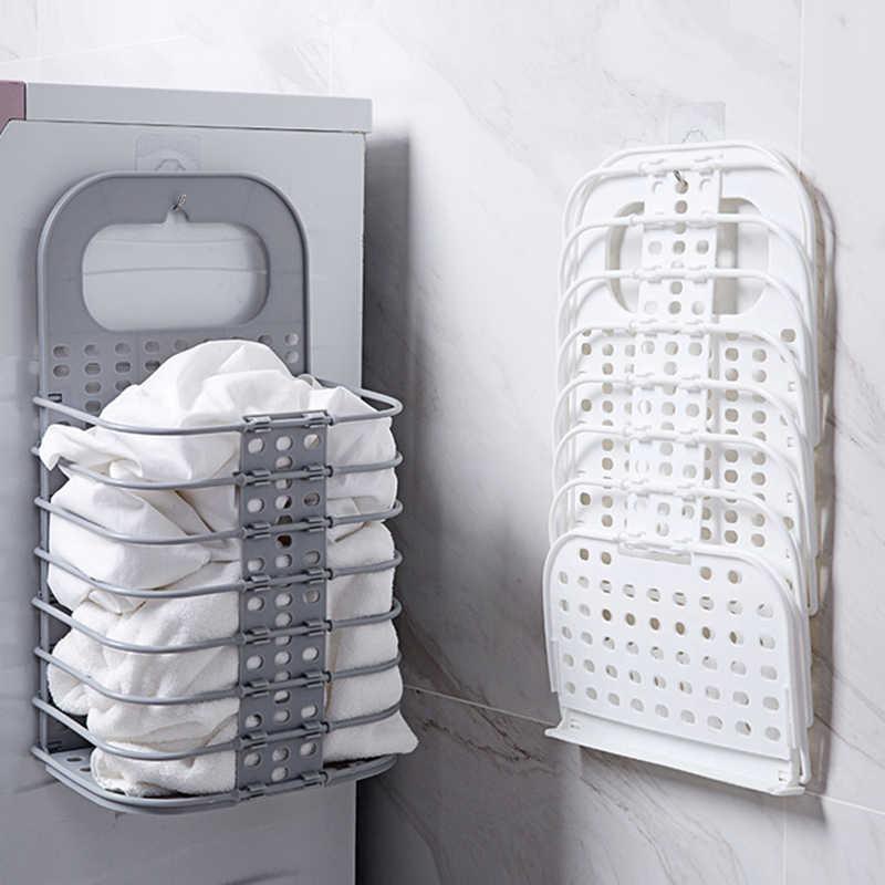 Keranjang Cucian Pakaian Kotor Keranjang Kamar Mandi Lipat Binatu Menghambat Wall Hanging Plastik Besar Pakaian Keranjang Penyimpanan Penyelenggara