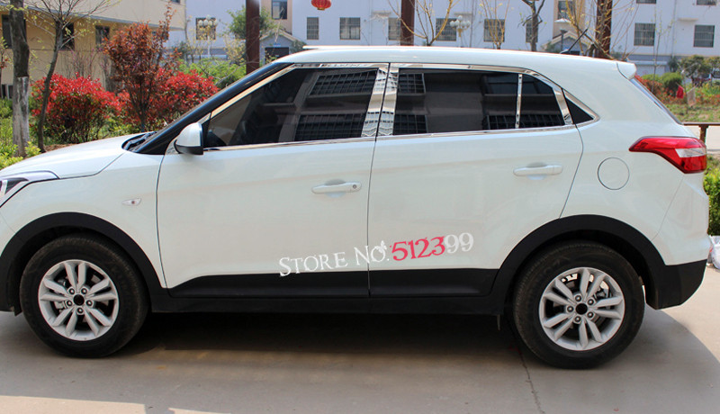 20pcs Stainless Steel Window Sill Frame+Middle Pillar Post Cover Car styling For Hyundai Creta ix25 Cantus 2014 2015 2016 2017 for hyundai creta ix25 cantus 2014 2015 2016 2017 stainless steel full window sill trims with center pillar 20pcs car styling