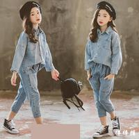 2020 Spring Children Girls Clothing Sets Denim Shirts With Blue Jeans 2pcs Sets School For Girls Clothes Sets Baby Kids Clothes