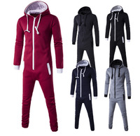 Motion Piece Men Zipper Cardigan Hoodie Black Blue Pyjamas One Piece Sleepwear Adult Onesie Women Men