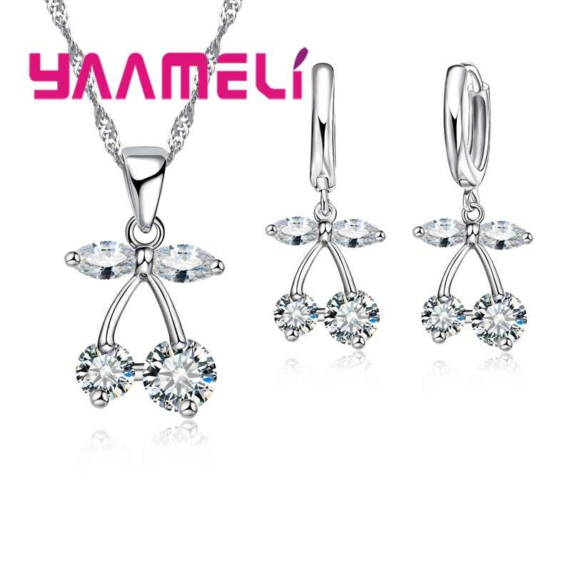 Multi Color Crystal cute Cherry Necklace Earrings Sets 925 Sterling Silver Party Anniversary Jewelry Bijoux Accessories