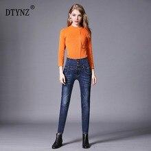 DTYNZ Denim Pants Fashion Women Elastic High Waist Skinny Stretch Jean Female Spring Jeans Feet Pantalones mujer Plus Size S-6XL