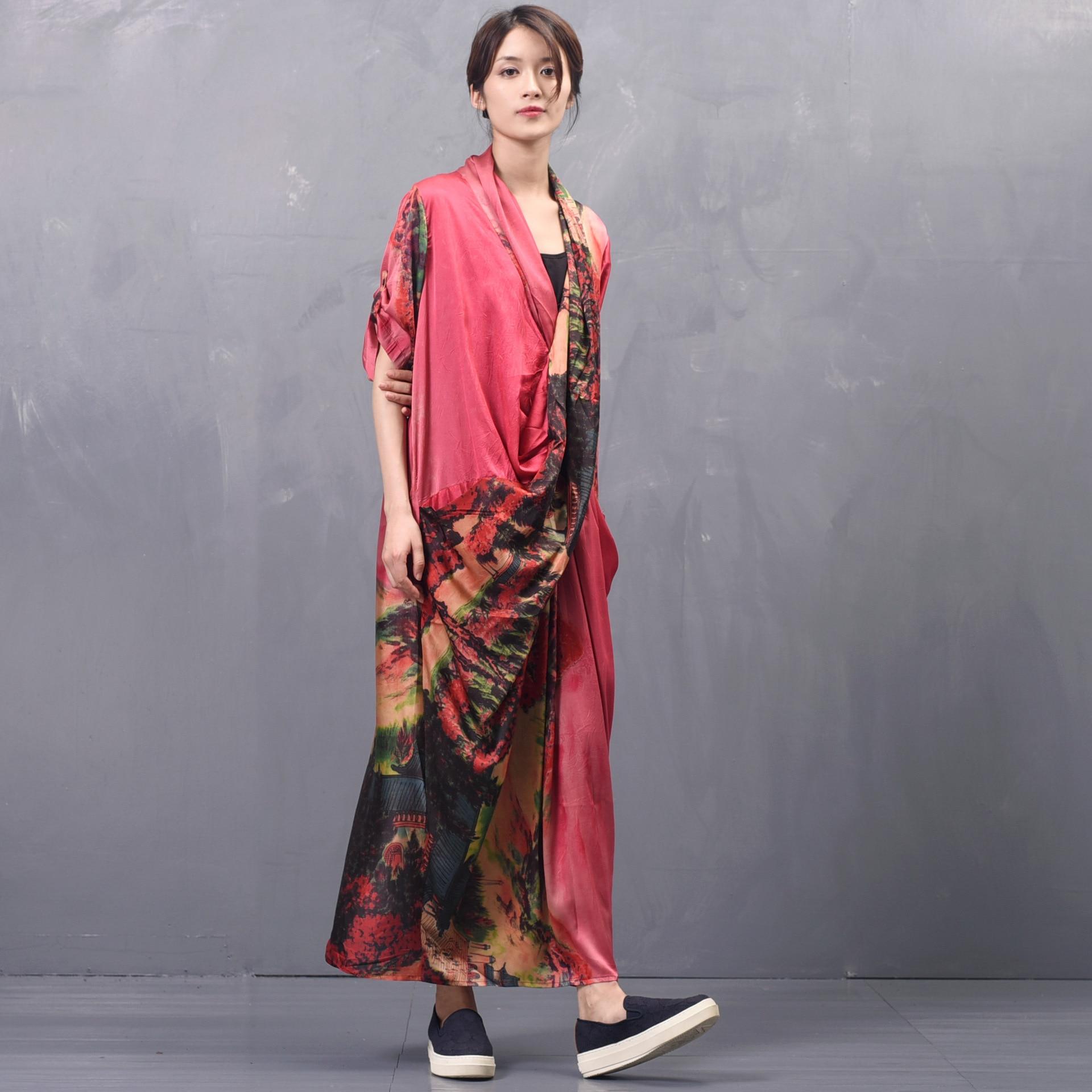 Kadın Giyim'ten Elbiseler'de Kadın İlkbahar Yaz Çapraz Gevşek Elbise Bayan Baskılı Zarif Elbise Kadın Baskı Patchwork Elbiseler 2019 Düzensiz Uzunluk Elbise'da  Grup 3