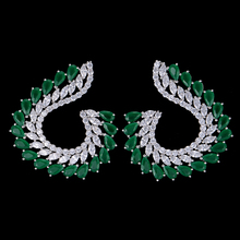SISCATHY New  Trendy Leaves Women Girls Stud Earrings Fashion Jewelry African Dubai Cubic Zirconia Statement For