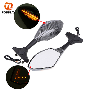 POSSBAY Rear View Mirrors For Honda Yamaha Suzuki Motorcycle Mirrors View Handle Bar End Rearview Mirrors Motorbike Cafe Racer