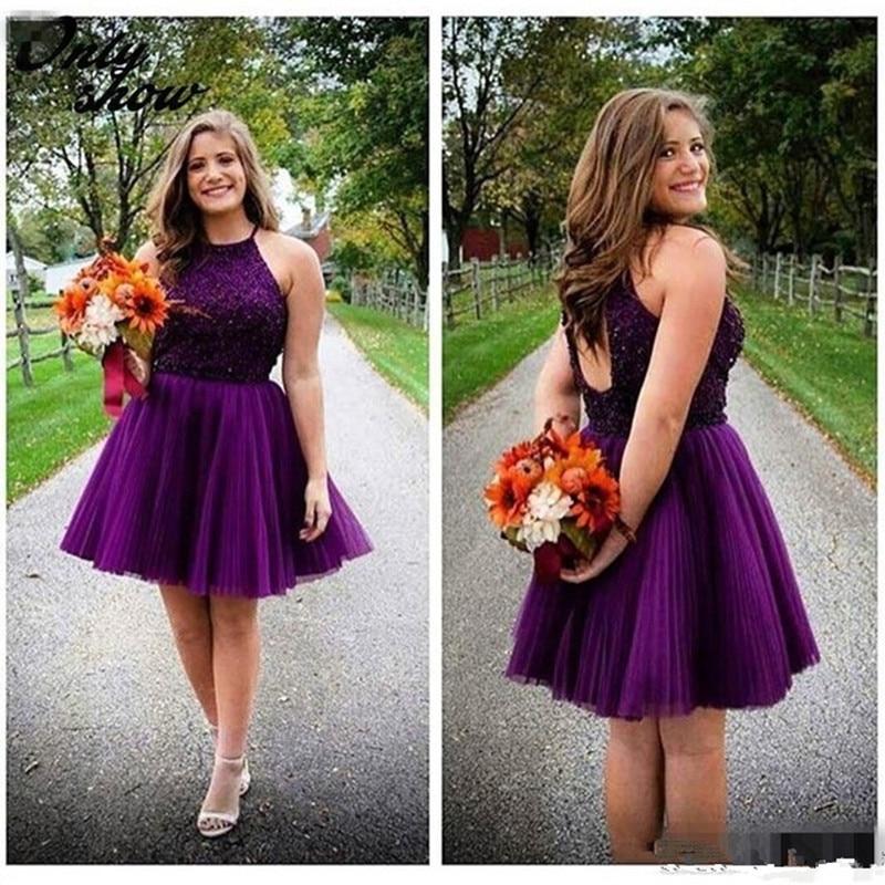 Plus Size Halter Beaded Dark Purple Homecoming Dress 2017 Open Back -8917