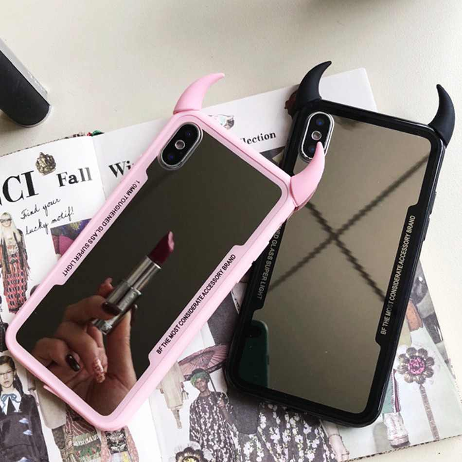 Luxury Mirror Phone Case For iPhone 7 6 6s 5 8 Plus Cute 3D Devil Horn Cover For iPhone X XS Max XR Hard Acrylic Back Case Coque