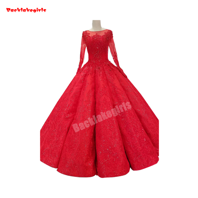 cb188e65b0b Backlakegirls Vintage Ball Gown Wedding Dress Red Long Sleeve Embroidery  Satin Pleat Sparkling Crystal 2018 Hot Sale Bridal Gown