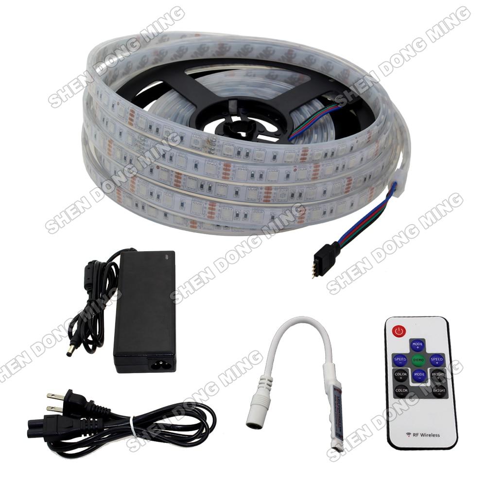 Lumière led Injection étanche IP68 couleur changeante RGB led bande ensemble 5050 SMD 60led/m + 10 clés mini contrôleur RF + adaptateur secteur