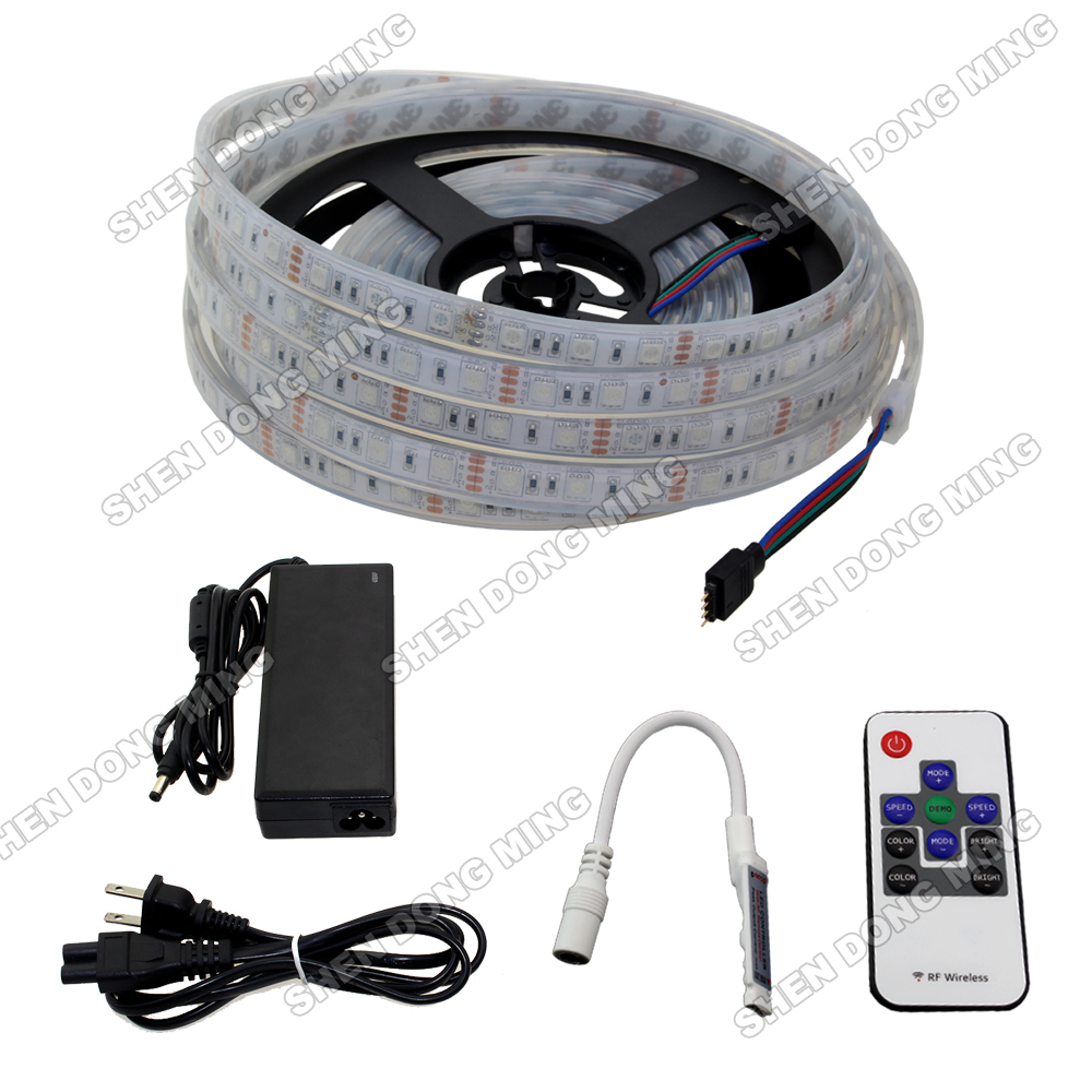 led light Injection waterproof IP68 changeable color RGB led strip set 5050 SMD 60led/m+10 keys mini RF controller+power adapter 20m roll dc24v rgb led strip 5050 waterproof non waterproof led light tape led power supply 2 4g rgb controller