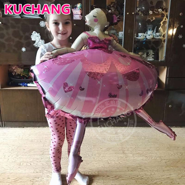 1pc 110*80cm Sparkles Ballerina Ballet Dancer Girls Foil Helium Balloons Girl's Happy Birthday Party Decorations Supplies Globos