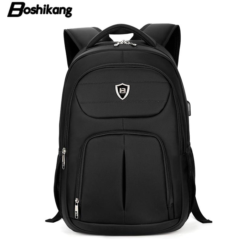 ФОТО Boshikang Men Backpack Large Capacity Bagpack for Boys Daypack Laptop Back Pack Waterproof Oxford Black Student School Bag