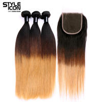 StyleIcon Pre Colored Remy Human Hair Bundles with Closure Brown Blonde Ombre Straight Hair Weave 3pc 4x4 Lace Closure T1b427
