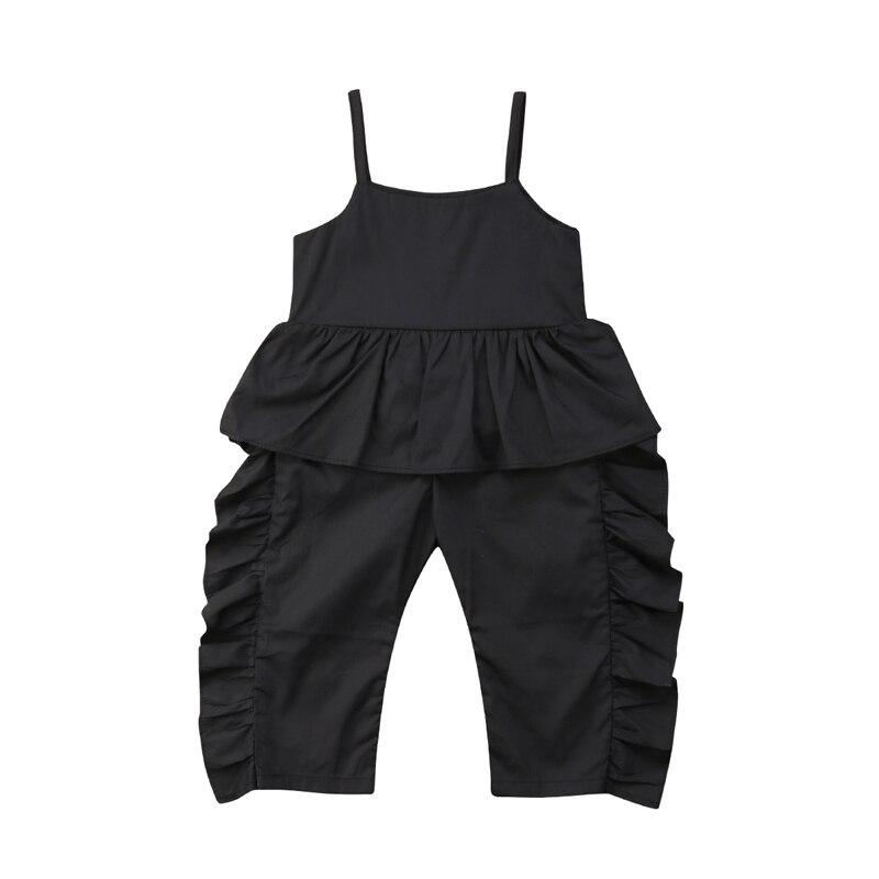 Одежда для малышей для девочек черный комбинезон оборками ремень одежда из хлопка летняя для От 1 до 6 лет ...