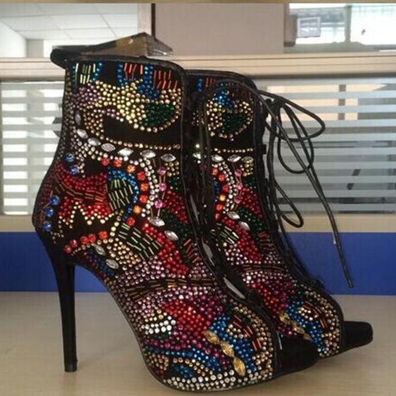 Emma King Стразы, дизайнерские туфли на высоком каблуке; Летние босоножки; Для женщин С кристалалми и стразами женские туфли лодочки передний открытый с перекрестными ремешками, на высоком каблуке - 4