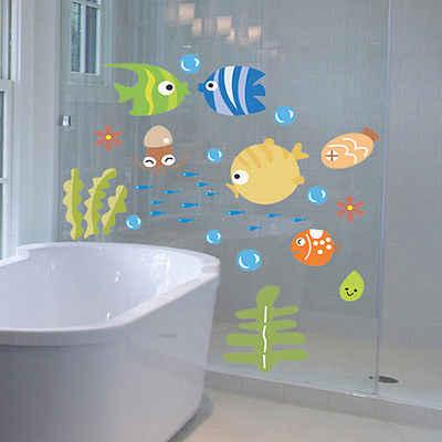 Sous-marin poisson étoile de mer bulle mur autocollant pour enfants chambres bande dessinée pépinière salle de bains enfants chambre décor à la maison stickers muraux