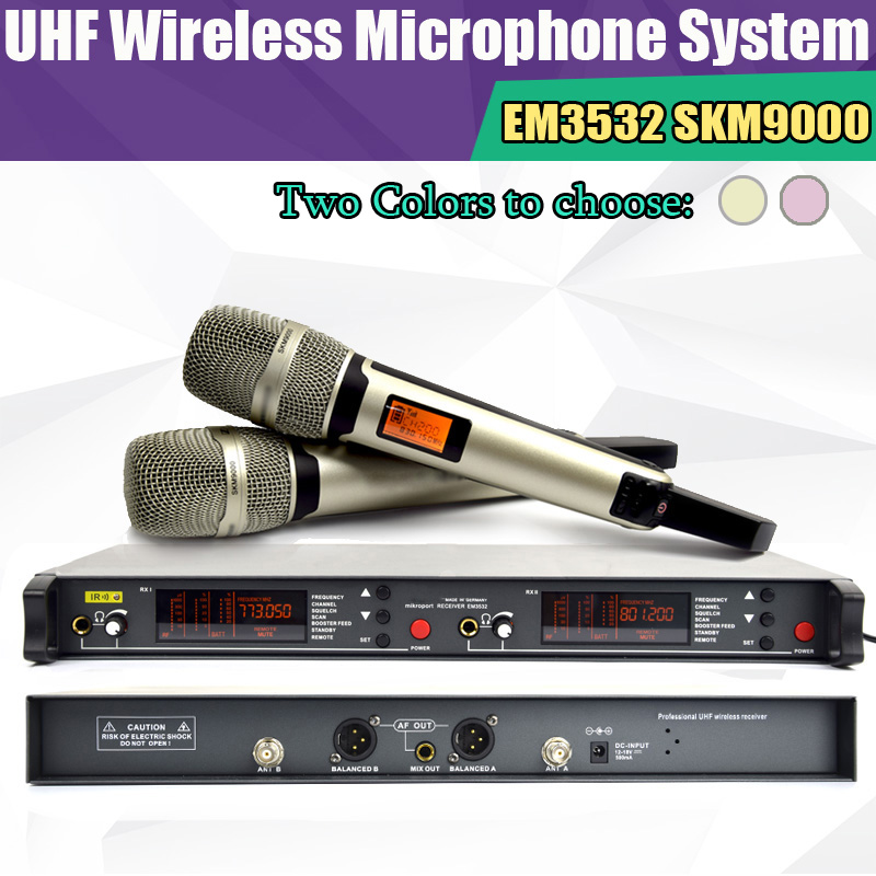 Top quality True diversity System 2 antenna for Stage EM3532 SKM 9000 SKM9000 Golden  Wireless Microphone System 2 performances top quality professional true diversity single handheld wireless mic microfone uhf wireless microphone system perfect for stage