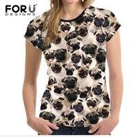 FORUDESIGNS Cute Basic 3D Pug Dog T Shirt For Woman Summer Tops O Neck Female Short