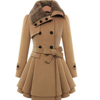 2018 new Fashion Winter Coat Europe Belt Buckle trench Coat Double breasted Coat Casual Women Long Sleeve Dress Coat size 4XL
