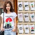 2016 новое лето товары оптом одежды печати Корейский свободные короткими рукавами Футболки Размер студент женский