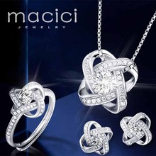 Luxury Jewellery 925 Silver Jewelry Set AAA Zircon Earrings Necklace Ring for Wedding Anniversary Engagement Bridal Set DS006