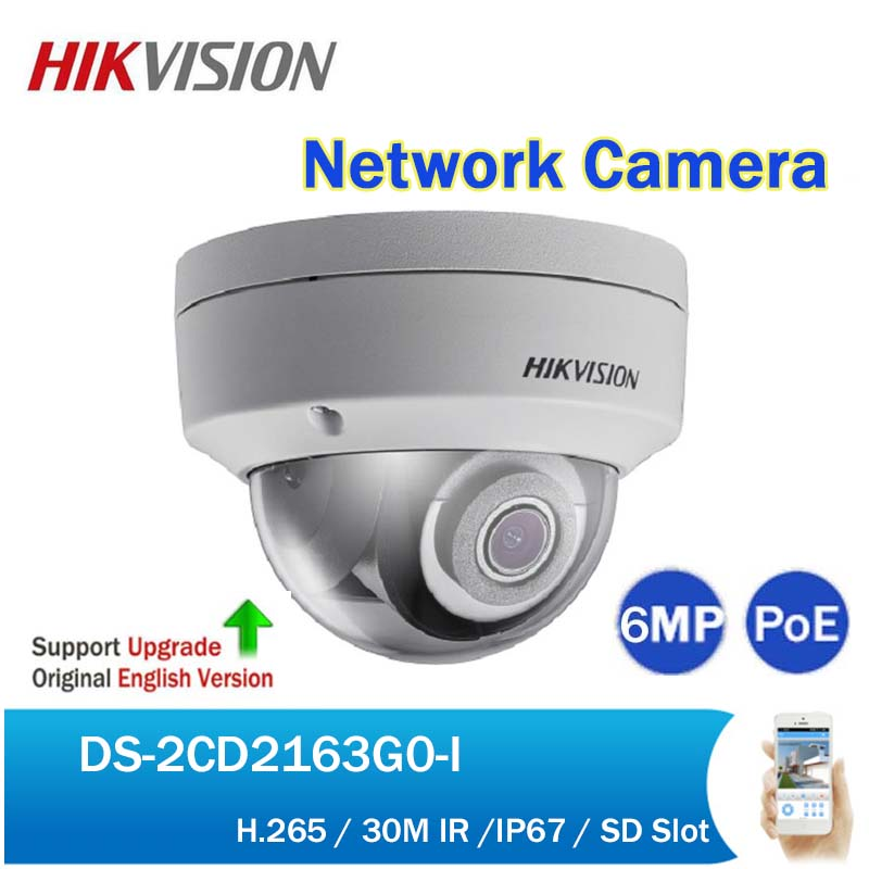 Hikvision DS-2CD2163G0-I 6MP IR Dome Network Camera H.265 Security CCTV Fixed Dome PoE IP Camera replace DS-2CD2185FWD-I hikvision ds 2cd3955fwd iws 5mp fisheye camera 360 view ip camera support wifi sd card poe ir replace ds 2cd3942f i