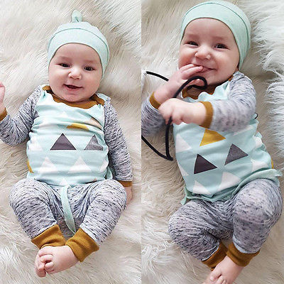 Soft Cotton Baby Boys Girls Clothes Sets  Newborn Baby Boy Girl Clothing Sets Printed Tops+Pants with Hat 3pcs Outfits Set 0-24M 3pcs set newborn baby boys girls clothes set tops rompers cotton pants leggings hat outfits clothing baby boy 0 18m