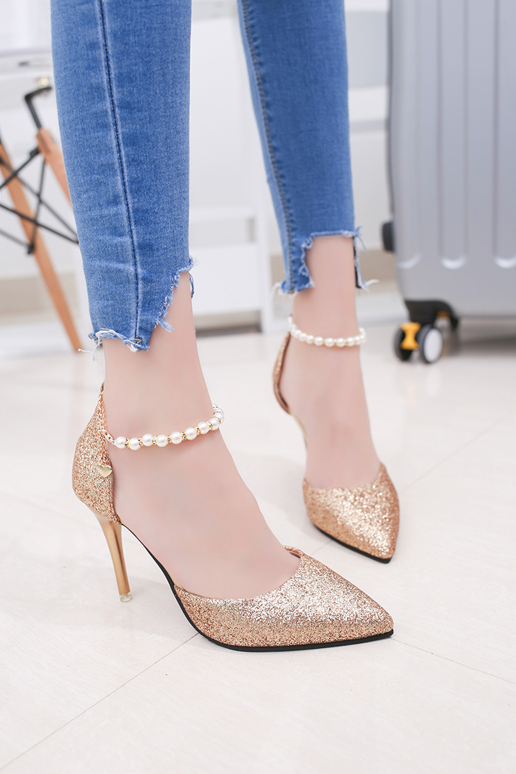 High heeled sandals toe cap covering female summer 2017 beaded women s pointed toe shoes thin