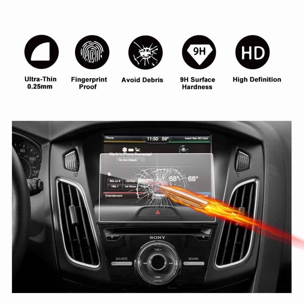 RUIYA screen protector for Ford Focus ST RS MK3 sync2 8inch navigation  touch center display,9H tempered glass protective film