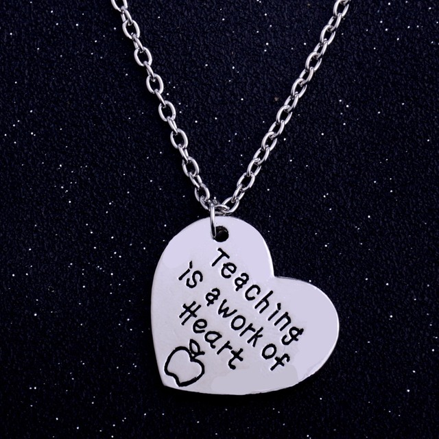 Teachers gifts teaching is a work of heart apple pendant necklace teachers gifts teaching is a work of heart apple pendant necklace for teachers day thanksgiving charm mozeypictures Image collections