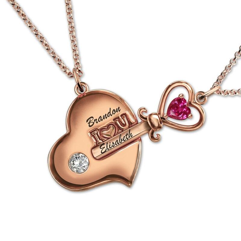 Gros personnalisé gravé clé à mon coeur pierre de naissance collier or Rose couleur Couple bijoux