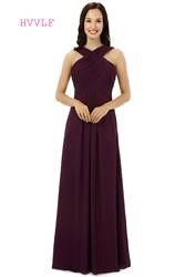 Фиолетовый 2019 дешевые платья подружки невесты под 50 A-Line Холтер длиной до пола шифон плиссированные Длинные свадебные платья