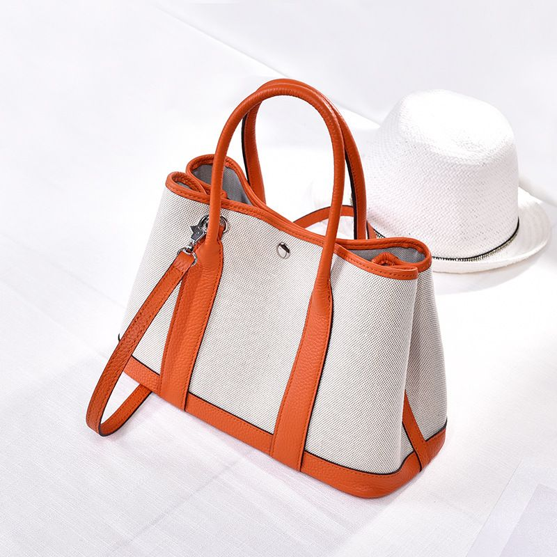 LOEIL Leather canvas garden bag star with the contrast color crossbody shoulder bag female handbag mother contrast lace open shoulder tee