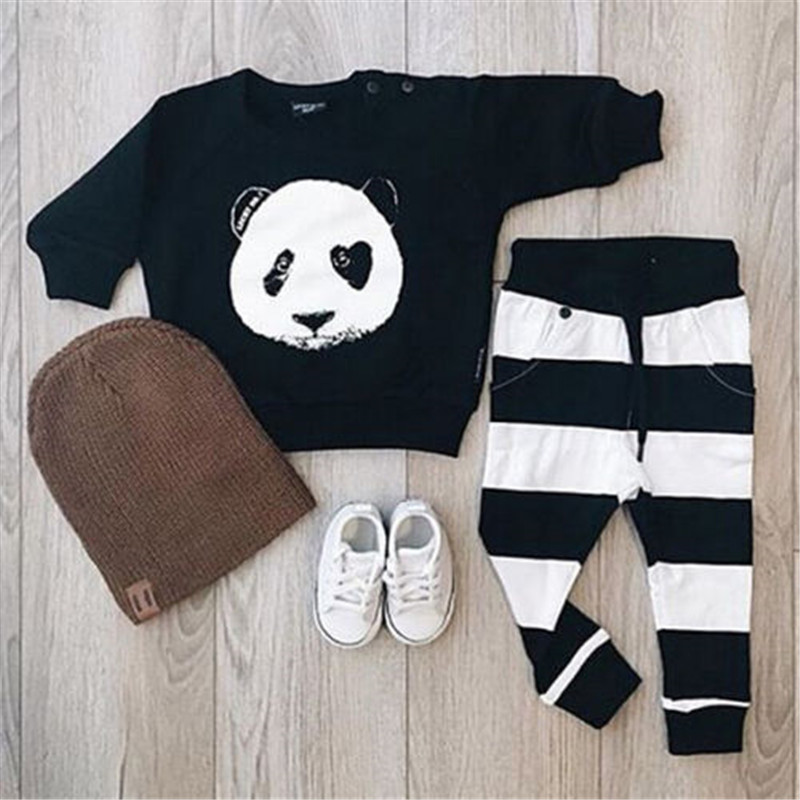 Spring Autumn Baby Clothing Set Panda Newborn Toddler Infant Kids Baby Boy Clothes T-shirt Top+Pants Outfits Set For Boys Girls kids clothing set plaid shirt with grey vest gentleman baby clothes with bow and casual pants 3pcs set for newborn clothes