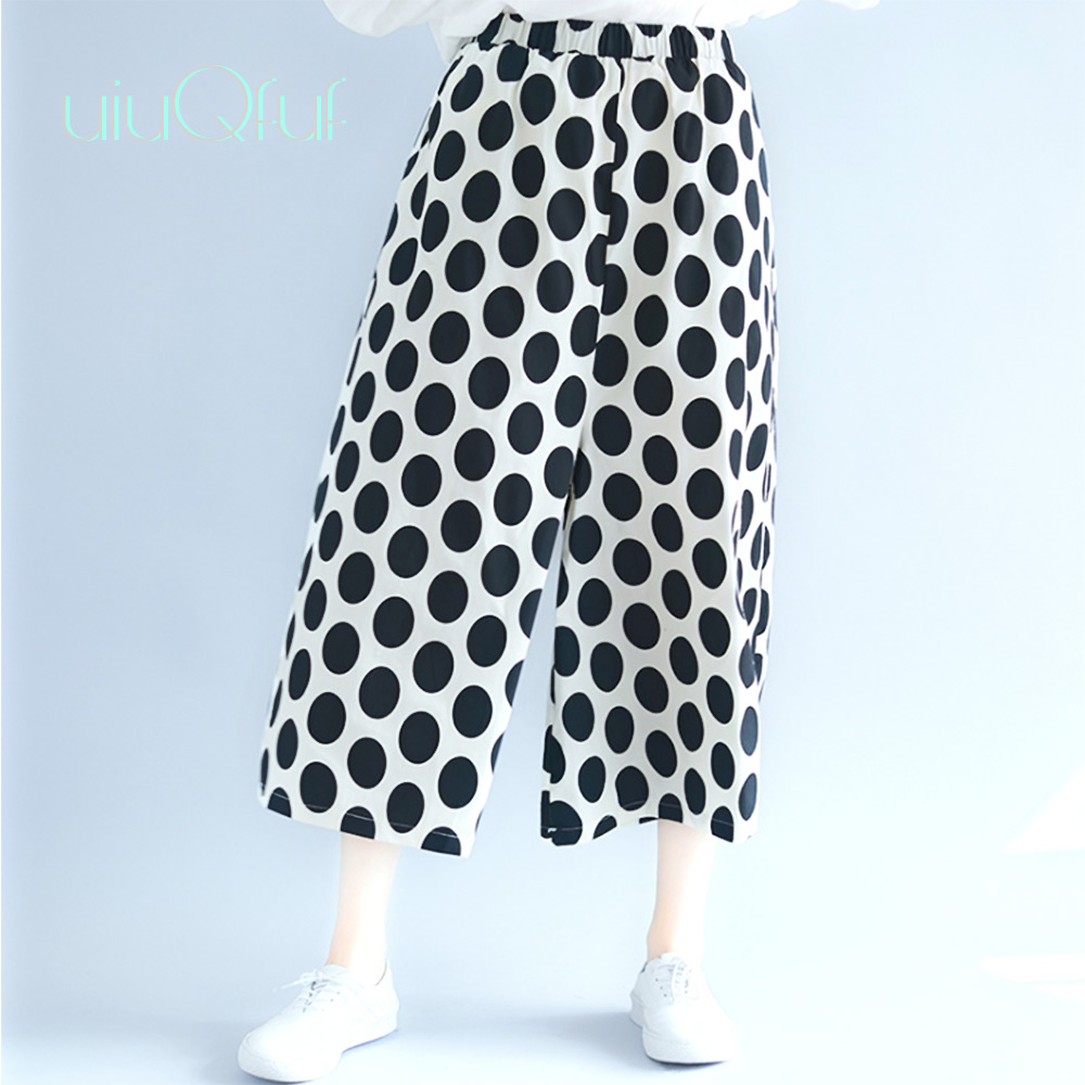 Elastic Waist   Wide     Leg     Pants   Black Red Dot Elegant   Wide   Trousers For Women Cotton Casual Autumn Loose Large Size Office   Pants