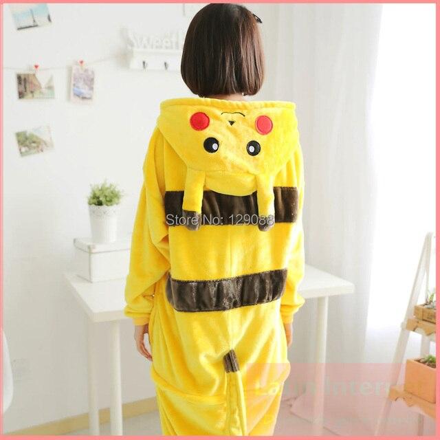 e9f0180c9e17 Funny Pajamas For Women Men Flannel Long Sleeve Pajamas Coral Velvet  Tracksuit Female Yellow Sleepwear Unisex Cartoon Onesie