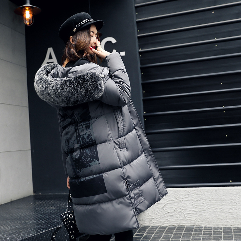 Cotton Women New Long Korean Loose Big Fur Collar Winter Femme Solid Color Warm Parkas Coat Mujer Outerwear Jacket Tide MZ1763 women winter coat leisure big yards hooded fur collar jacket thick warm cotton parkas new style female students overcoat ok238