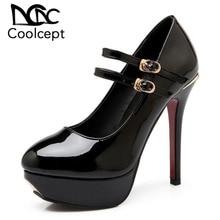 fe8c6e821a72a3 Coolcept Sexy Women High Heel Shoes Fashion Platform Pumps Double Buckle  Round Toe Thin Heels Wedding