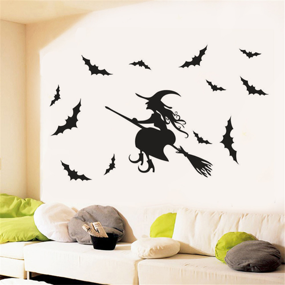 Halloween Flying Witches Wall Stickers Living Room Wall Window ...