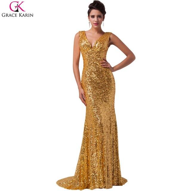 c0925dbd1e1 Luxury Grace Karin Evening Dresses Robe De Soiree Long Glitter Sequin  Formal Gowns Party V Neck Golden Mermaid Evening Dresses