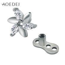 3b03da4f0e60 Aoedej flor cristalina micro Dermal piercing Titanium Acero inoxidable  Dermal Anchor joyería retainer ocultar que la joyería Bis.